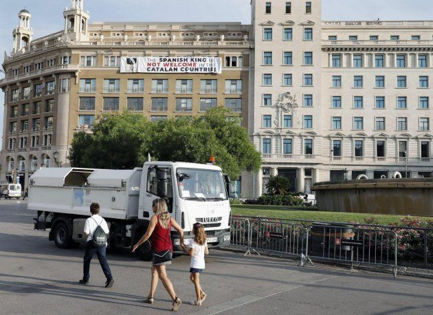 Vista de la pancarta en Plaza