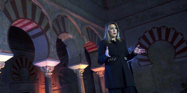 Susana Díaz, durante su discurso de Navidad en Medina Azahara