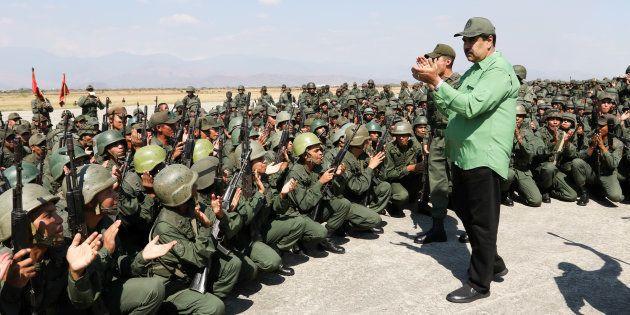 Nicolas Maduro, el pasado 29 de enero, durante unas maniobras militares en