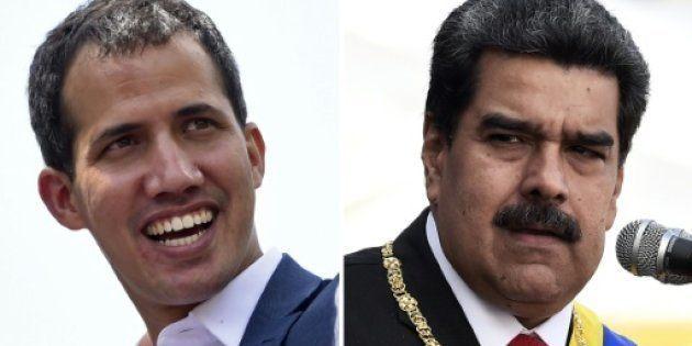 Juan Guaidó (i) y Nicolás Maduro