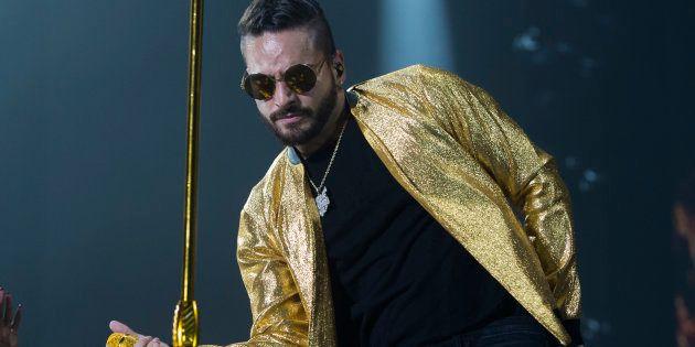 El cantante Maluma, durante un concierto en Madrid el 20 de septiembre de