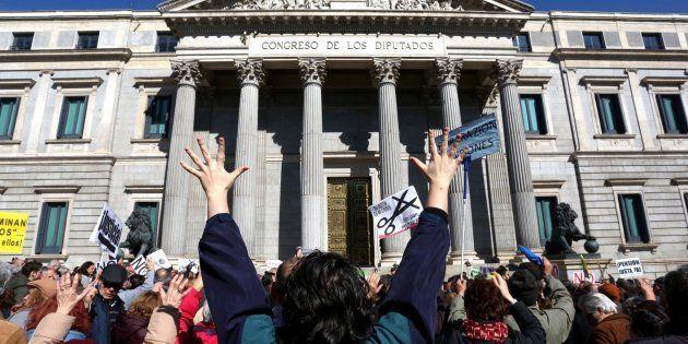 Manifestación de pensionistas frente al Congreso de los