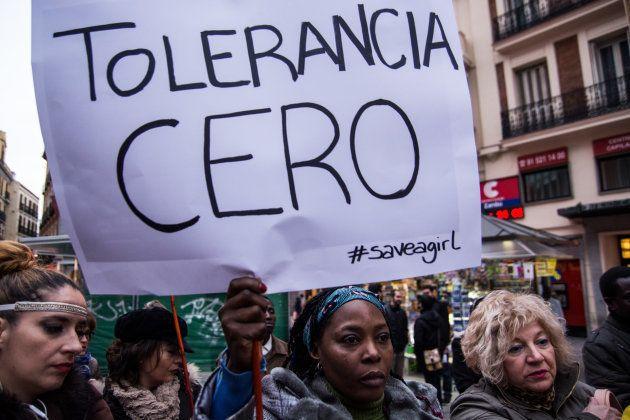 Manifestación en Madrid contra la mutilación genital femenina organizada por Save a Girl Save a