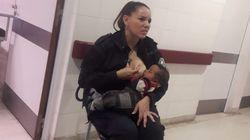 La historia tras la foto viral de la policía amamantando a un bebé en un hospital
