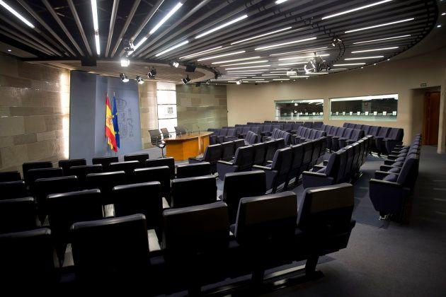 Sala de Prensa donde se celebran las ruedas de prensa tras los Consejos de