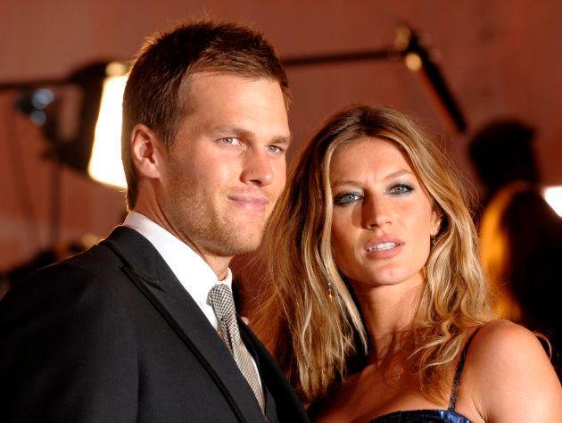 El quarterback de los Patriots de Nueva Inglaterra Tom Brady y su esposa la supermodelo brasileña Giselle...