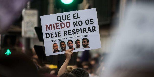 Pancarta contra La Manada durante una manifestación, el pasado junio, en