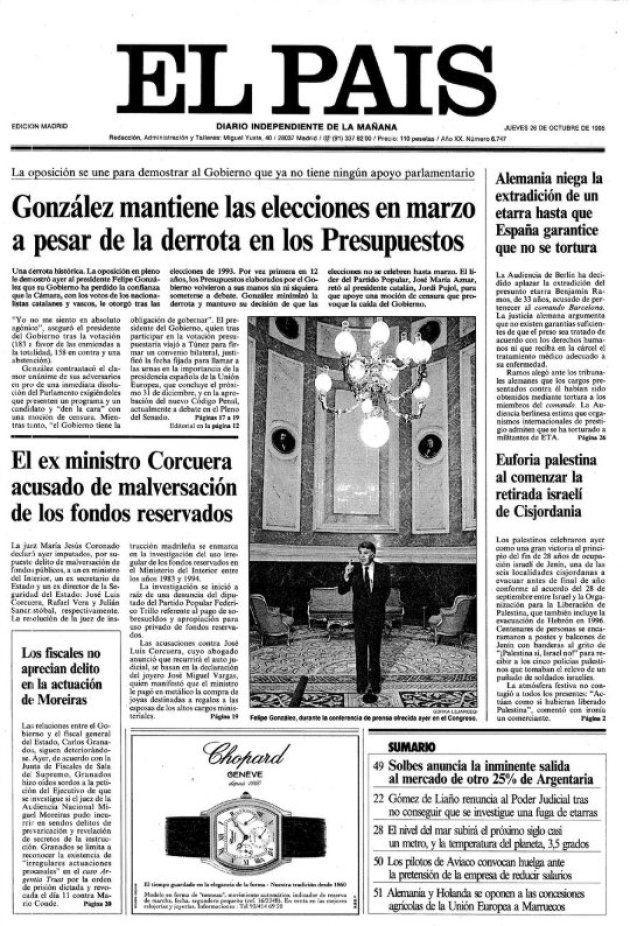 Portada de 'El País' del jueves 26 de octubre de