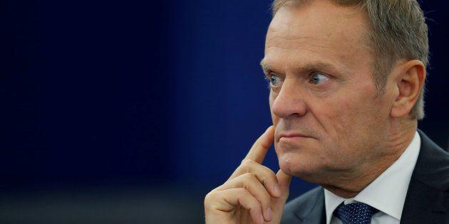 Donald Tusk, durante un reciente debate en el Europarlamento, en Estrasburgo