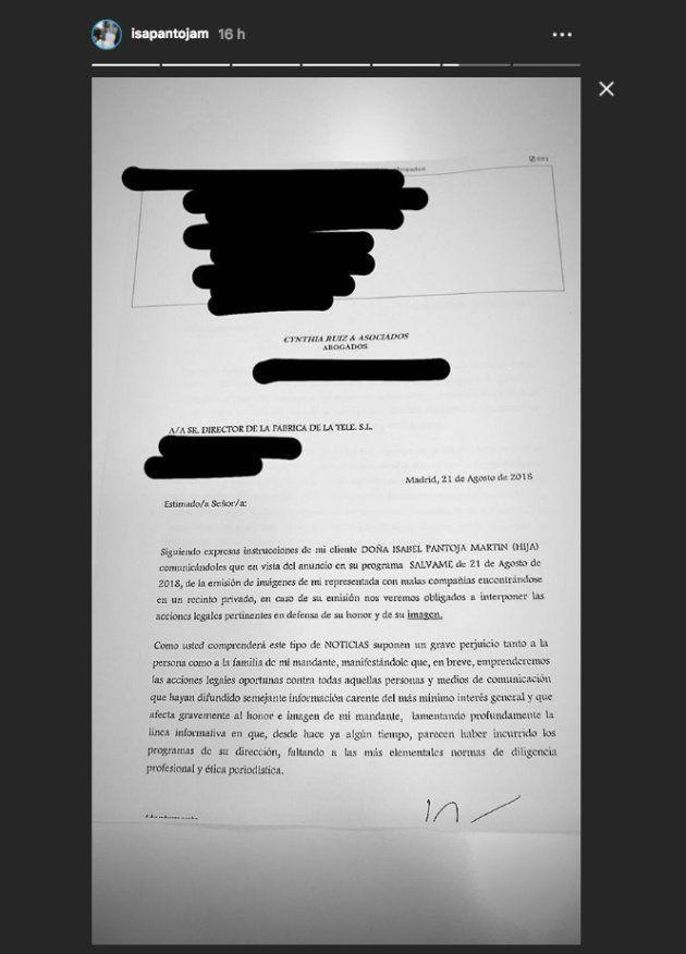 Isa Pantoja arremete contra 'Sálvame' por mostrar una foto suya con un miembro de 'La
