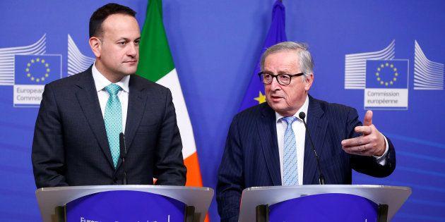 Jean-Claude Juncker y Leo Varadkar, durante su rueda de prensa conjunta de hoy en