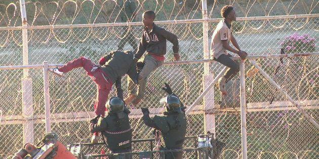 Un grupo de subsaharianos, tratando de saltar la valla de Ceuta, el miércoles