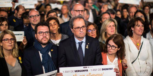 El presidente de la Generalitat, Quim Torra, el pasado 16 de octubre durante la manifestación por el...