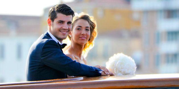 El futbolista Álvaro Morata y Alice Campello, en su boda en Venecia el 17 de junio de