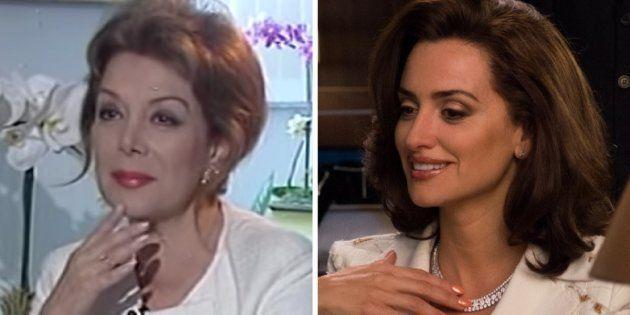 La periodista Virginia Vallejo, durante una entrevista en 2007 y Penélope Cruz, en 'Loving