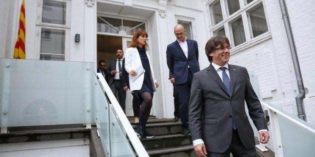 El president de la Generalitat, Carles Puigdemont, en la inauguración de la delegación del Gobierno catalán...