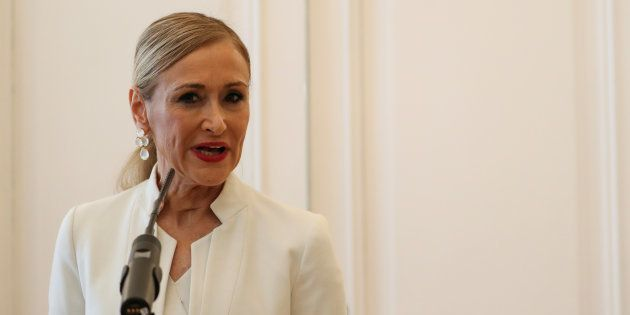 Madrid's regional president Cristina Cifuentes announces her resignation in Madrid, Spain, April 25,...