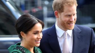 Britain's Prince Harry and Meghan, Duchess of Sussex arrive for the Commonwealth Day Youth Event at Canada House in London, Monday, March 11, 2019. The event will showcase and celebrate the diverse community of young Canadians living in London and around the UK. (Chris Jackson/Pool Photo via AP)