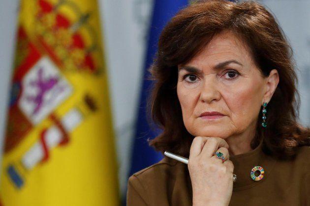 Carmen Calvo, en la rueda de prensa posterior al Consejo de