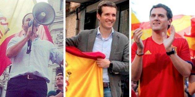 Santiago Abascal, Pablo Casado y Albert