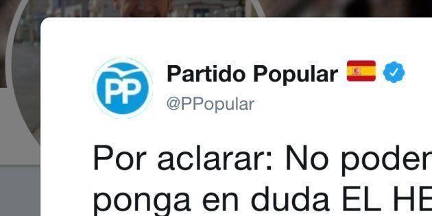 Tuit del PP de 2013 que se ha rescatado años