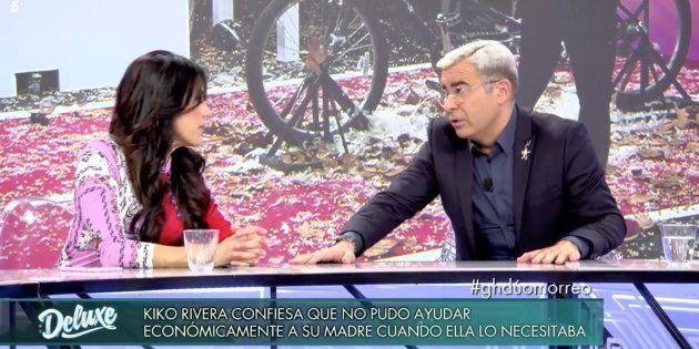 Maite Galdeano y Jorge Javier Vázquez en la mesa de debate de 'GH