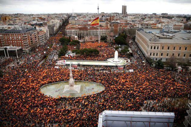 Vista aérea de la manifestación en