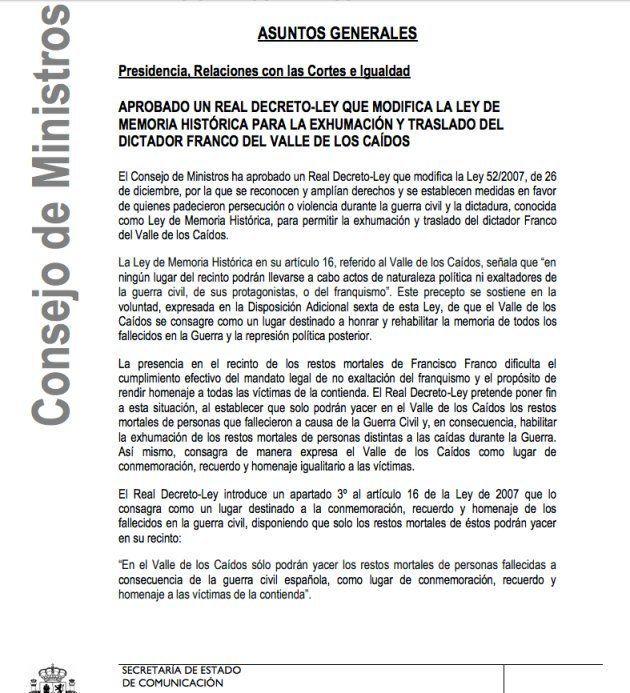 Referencia del Consejo de Ministros al decreto ley aprobado para iniciar la exhumación de Franco del...