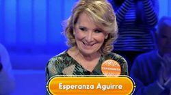El 'pique' de Esperanza Aguirre con Christian Gálvez en 'Pasapalabra':