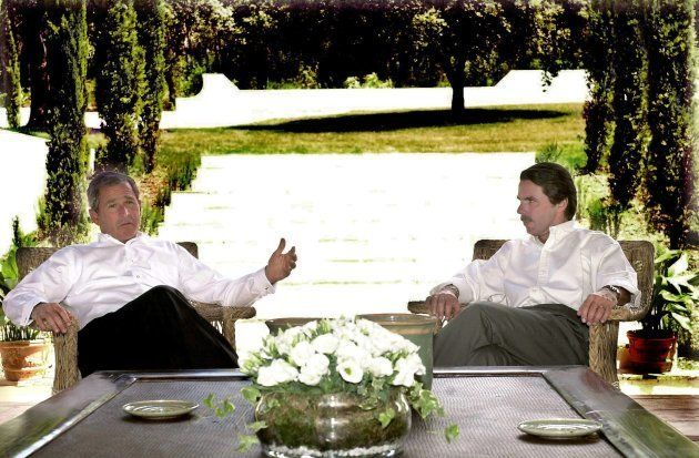 José María Aznar y George W. Bush, reunidos en 2001 en Quintos de