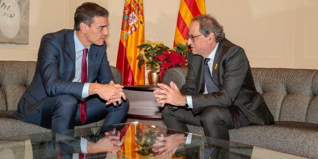 Imagen de archivo de la reunión mantenida por Pedro Sánchez y Quim Torra en