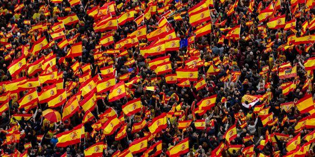 Concentración por la unidad de España convocada por PP, C's y Vox en Madrid este