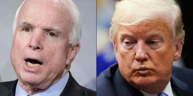 Combo con las imágenes de archivo del senador McCain y el presidente Donald
