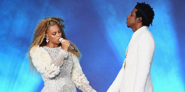 Beyoncé y Jay-Z actúan en el concierto de Nueva Jersey en la gira 'On The Run II', el dos de agosto de