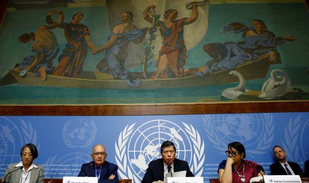 Los expertos de la ONU, durante la comparecencia en Ginebra para explicar su
