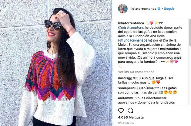 Instagram aplaude a Lidia Torrent por su precioso gesto en ayuda de las mujeres