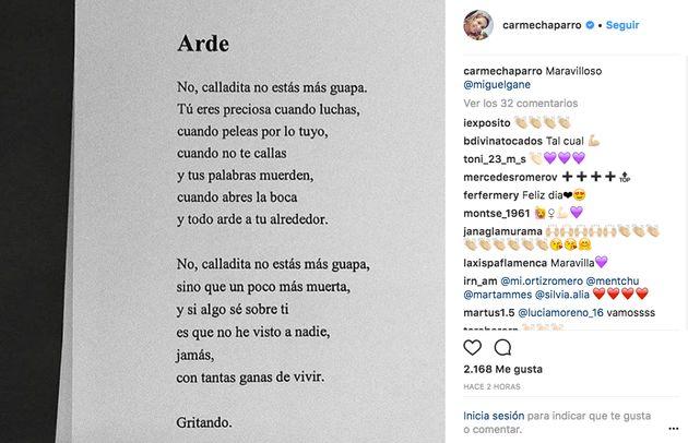 Carme Chaparro arrasa en Instagram con un poema que ya es un símbolo este