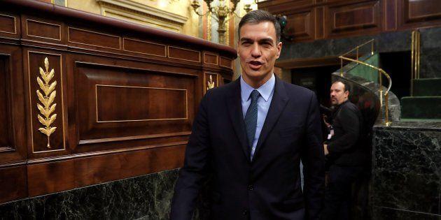 El presidente del Gobierno, Pedro Sánchez, a su llegada hoy al pleno del