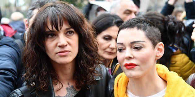 Rose McGowan y Asia Argento participan en una marcha del #MeToo en