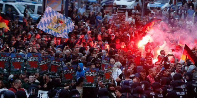 Manifestación de la extrema derecha en la ciudad alemana de