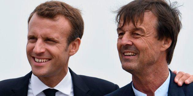 Imagen de archivo del presidente francés Emmanuel Macron y el que era su ministro de Ecología, Nicolas