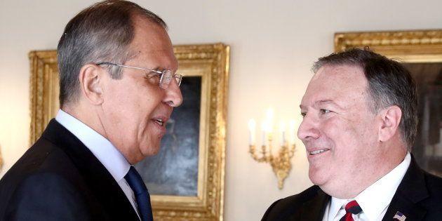 Sergei Lavrov y Mike Pompeo, el pasado julio durante un encuentro en Helsinki