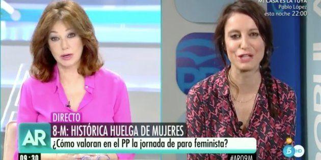 El reproche de Ana Rosa Quintana a Andrea Levy tras el