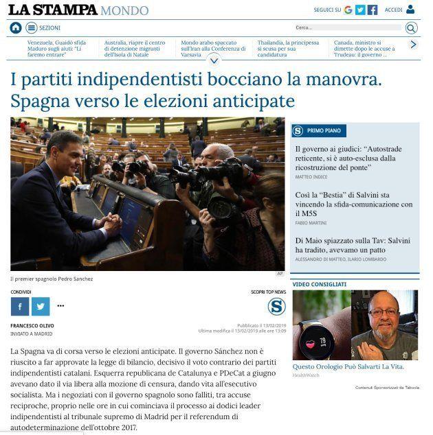 Noticia de 'La Stampa', de