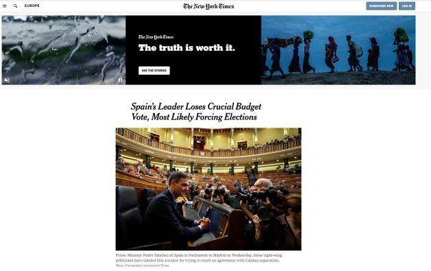 Noticia sobre los Presupuestos españoles en el 'New York