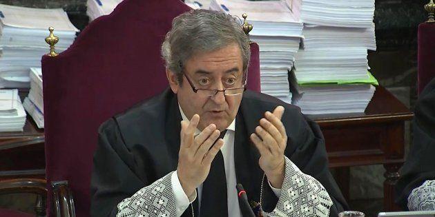 El Fiscal del Supremo, Javier Zaragoza, durante la segunda jornada del juicio del