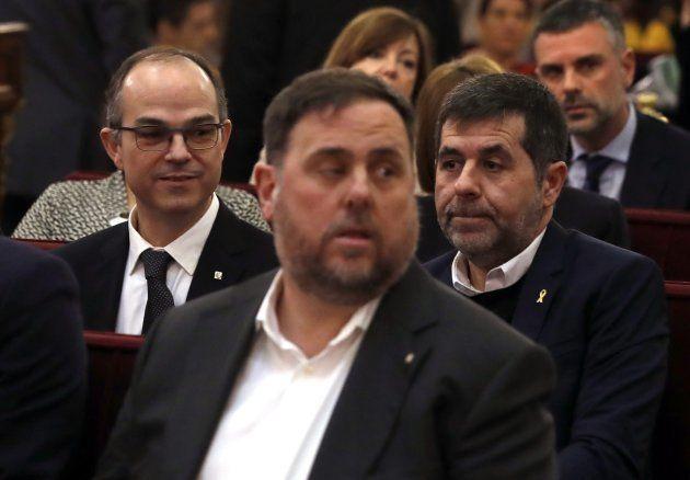 De izquierda a derecha: Jordi Turull, Oriol Junqueras y Jordi