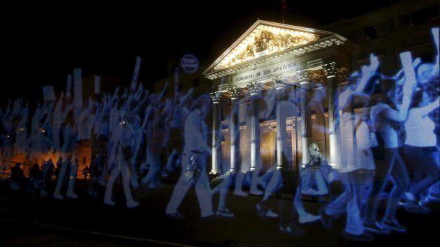 Hologramas proyectados en la fachada del Congreso en abril de 2015, manifestantes fantasma contra la...