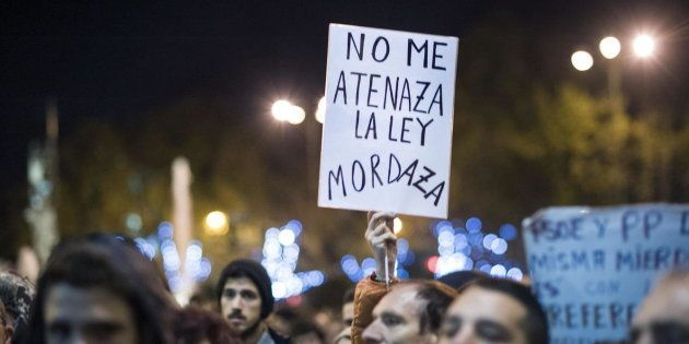 Imagen de la protesta de 'Rodea el Congreso' contra la Ley Mordaza, en diciembre de