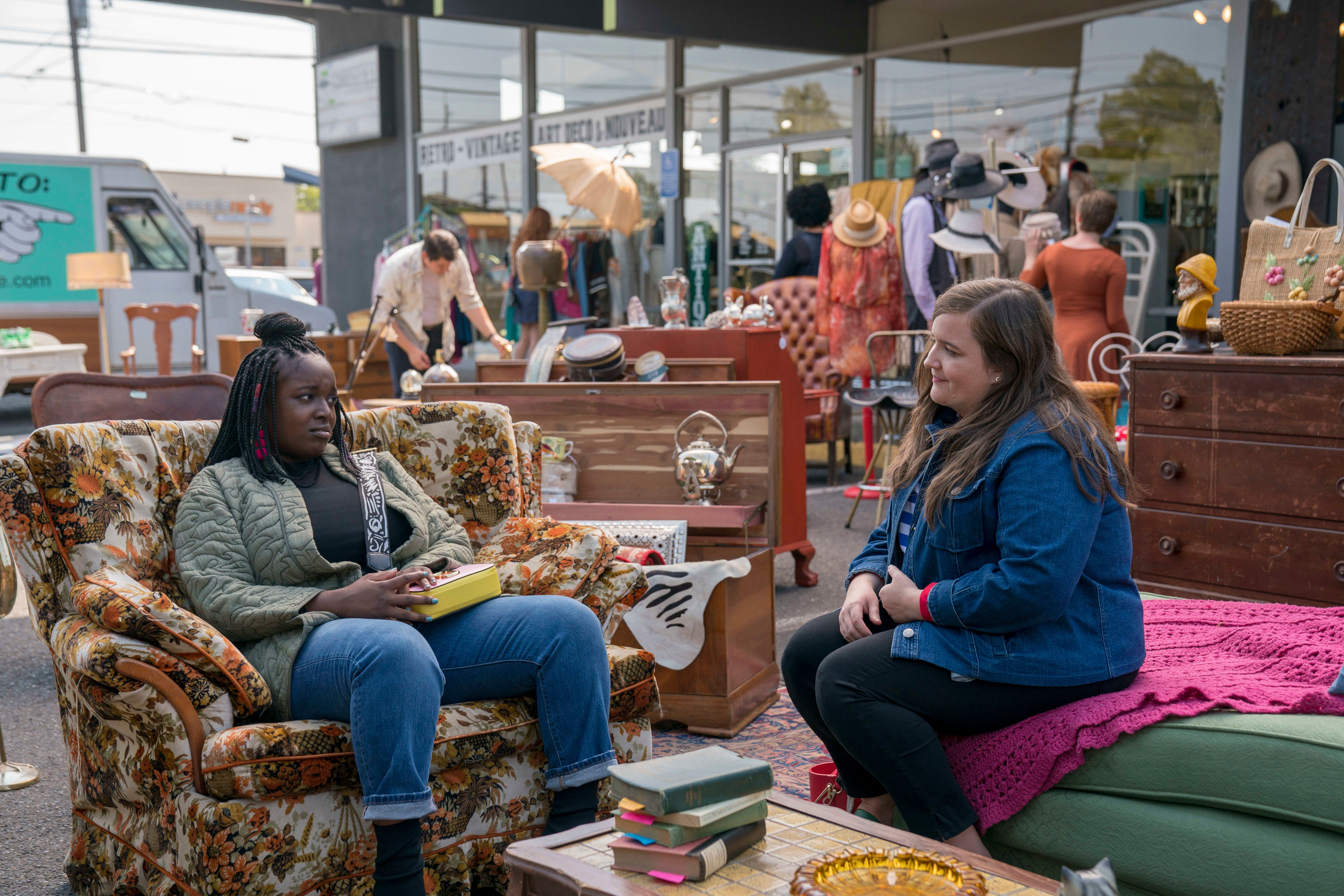 """Fran (Lolly Adefope) and her best friend and roommate Annie (Aidy Bryant), stars of the new Hulu show """"Shrill."""""""
